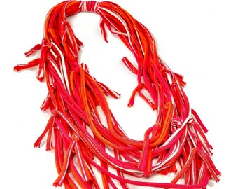 Women's Hot Pink Infinity Scarf Necklace Statement, Colorful Fashion Statement