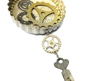 Steampunk Gears Ornament, Upcycled Altered Art