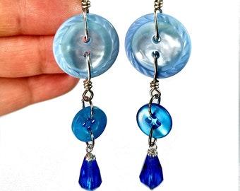 Repurposed Button Earrings in  Blue