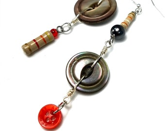Mismatched Asymmetrical Earrings, Mother Of Pearl Button Jewelry