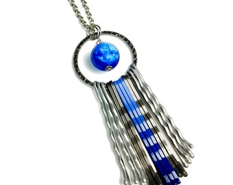 Fun and Funky Modern Long Blue Necklace With Vintage Star Sapphire