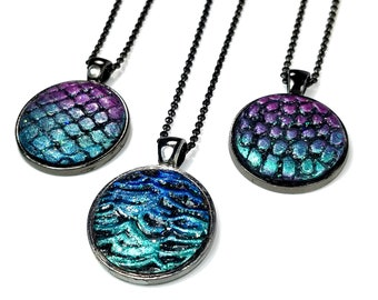 Mermaid Pendant Necklace, Dragon Scale or Waves, Handmade Gift For Her
