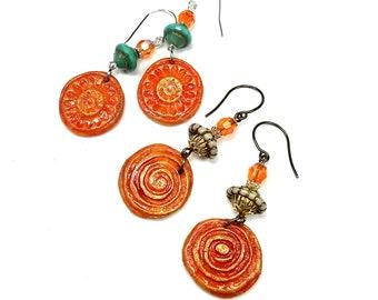 Orange Dangle Earrings, Summer Jewelry, Hypo-Allergenic