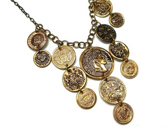 Upcycled Coin Necklace Statement, Repurposed  Button Jewelry