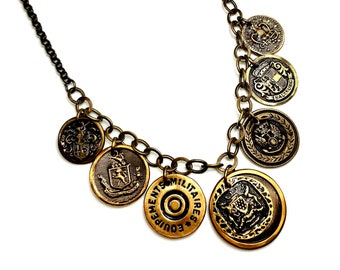 Button Necklace Statement, Coin Jewelry, Upcycled