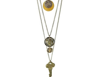 Long Layered Necklace Set, Coin Pendants, Brass Button Jewelry, Upcycled Key Charm
