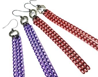 Multi-Chain Long Tassel Earrings in Purple OR Red