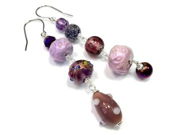 Long Asymmetrical Earrings, Purple Bead Dangles, Gift For Artsy Woman