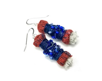 Upcycled Fiber Art Jewelry, Artsy Earrings, Gift For Woman, Sterling Silver Ear Wires