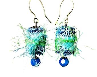 Repurposed Denim Fabric Earrings, Fiber Art Jewelry