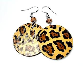 Fun Leopard Earrings, Animal Print  Statement Jewelry, Fall Fashion