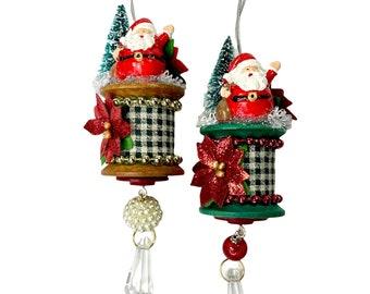Vintage Wooden Spool Christmas Ornaments with Santa, Bottlebrush Tree