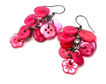Hot Pink Upcycled Dangle Earrings, Repurposed Button Jewelry