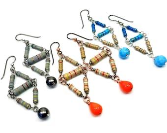 Geometric Earrings, Resistor Jewelry, Niobium Ear Wires