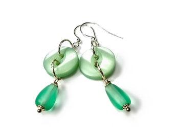Mint Green Earrings, Button Jewelry, Spring Pantone Green Ash, Seafoam