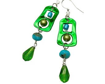 Recycled Soda Tab Earrings, Green Eco Friendly Upcycled Jewelry