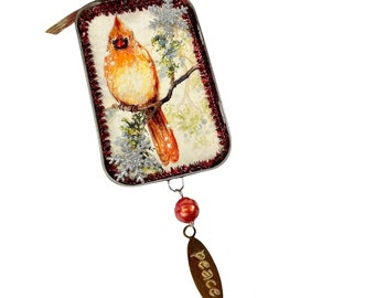 Female Cardinal Ormament with Peace Charm, Upcycled Tin Christmas Decorations