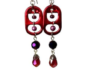 Soda Tab Earrings, Red Dangle, Eco Friendly Recycled Jewelry