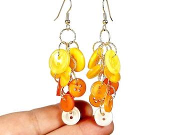 Candy Corn Earrings, Halloween Button Jewelry