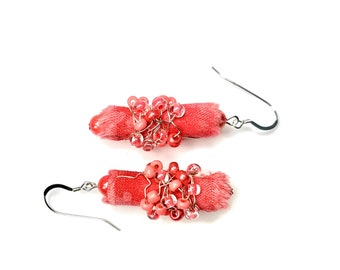 Pink Coral Earrings, Summer Jewelry, Fiber Art