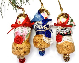 Russian Doll, Babushka Ornament, Upcycled Wine Cork Christmas Decorations