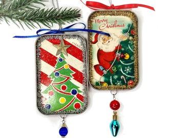 Upcycled Retro Christmas Tree Ornament, Card Alternative Gift
