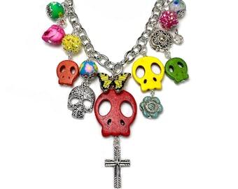 Colorful Sugar Skull Charm Necklace Statement, Dia de Los Muertos