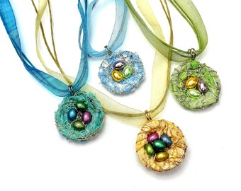 Easter Necklaces, Birds Nest Pendants, Easter Gifts