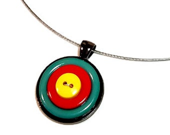 Archery Target Necklace Pendant, Repurposed  Buttons
