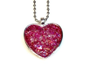 Sparkly Heart Necklace Pendant, Valentine's Day Jewelry