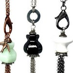 Repurposed Glass, Long TASSEL Necklaces in Mint, Black or White