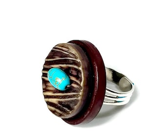 Statement Ring, Birds Nest Button Ring, Upcycled Button, ADJUSTABLE