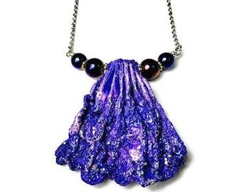 Purple Scallop Sea Shell Necklace, Mermaid Pendant, Ocean Beach Inspired Jewelry