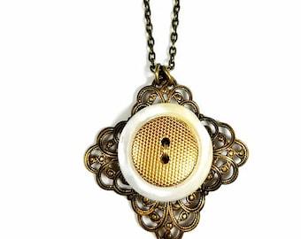 Repurposed Vintage, Brass Button Necklace Pendant
