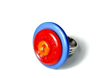 ADJUSTABLE Vintage Button Ring, Big Colorful Statement