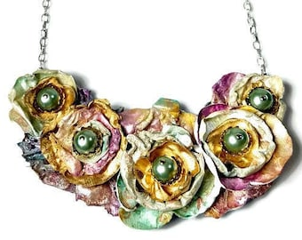 Wild Rose Flower Necklace Earring Set, Wedding Jewelry, Recycled, Upcycled, One-of-a-kind