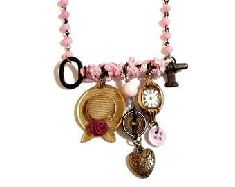 Upcycled Jewelry, Repurposed Antique Key Necklace, Statement Necklace, Charm Necklace, Vintage Jewelry