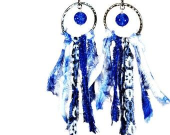 Cobalt Blue Earrings, Boho Statement Earrings, Fringe, Fabric Jewelry, Fabric Earrings, Upcycled, Boho Jewelry, Dangle
