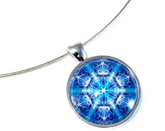 Blue Star Mandala Art Jewelry, Chakra Necklace Pendant, Small
