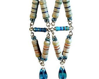 Long Geometric Earrings, Fun And Funky Upcycled  Resistor Jewelry