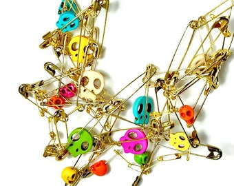 Colorful Skull Safety Pin Necklace Statement, Day of the Dead Jewelry