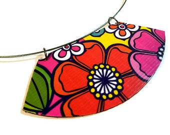 Reversible Colorful Floral Bib Necklace Statement, Flower Power Jewelry
