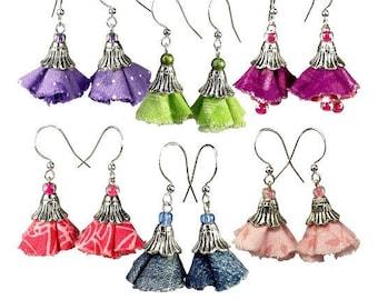 Boho Bell Flower Earrings, Gift for Gardener, Upcycled Fabric Jewelry
