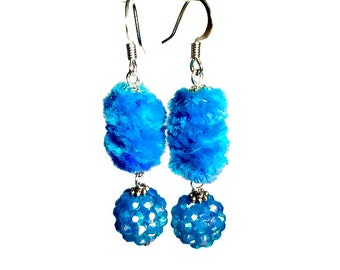 Fun Fuzzy Turquoise Dangle Earrings, Aqua, Bead Dangle, Sparkly Earrings,  Fiber Art Jewelry