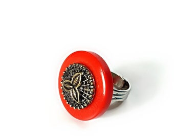 Steampunk Red Button Ring Statement, Upcycled Jewelry,  ADJUSTABLE