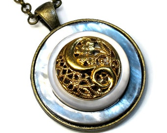 Mother of Pearl Button Necklace Pendant, Upcycled Jewelry, Affordable Gift For Woman