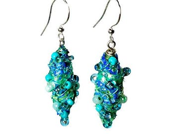 Unique Aqua Blue Dangle Earrings, Repurposed Recycled Upcycled, Fiber Art Jewelry, Artsy Earrings, Gift For Her, Turquoise