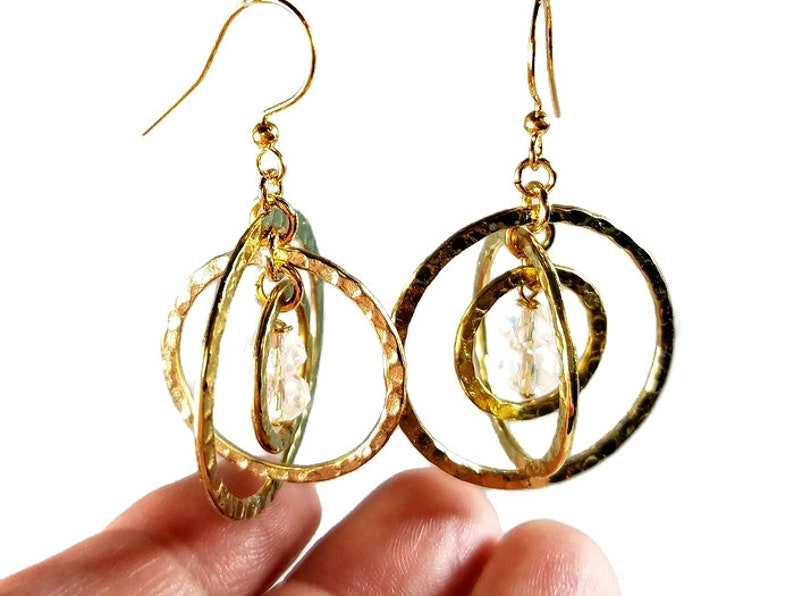 Gold Circle Earrings Modern Jewelry Gift For Women or Girls image 0