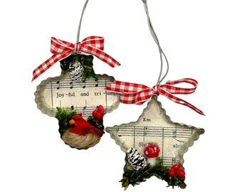 Woodland Christmas Ornament Cookie Cutter Decorations with Mushroom, Cardinal, Sheet Music