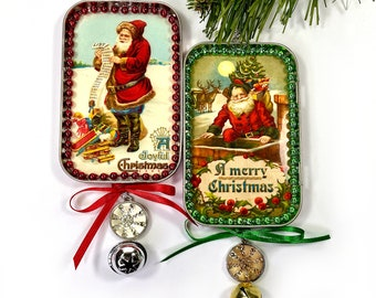 Victorian Old World Christmas Ornaments; Santa Clause, Vintage Art Christmas Decorations